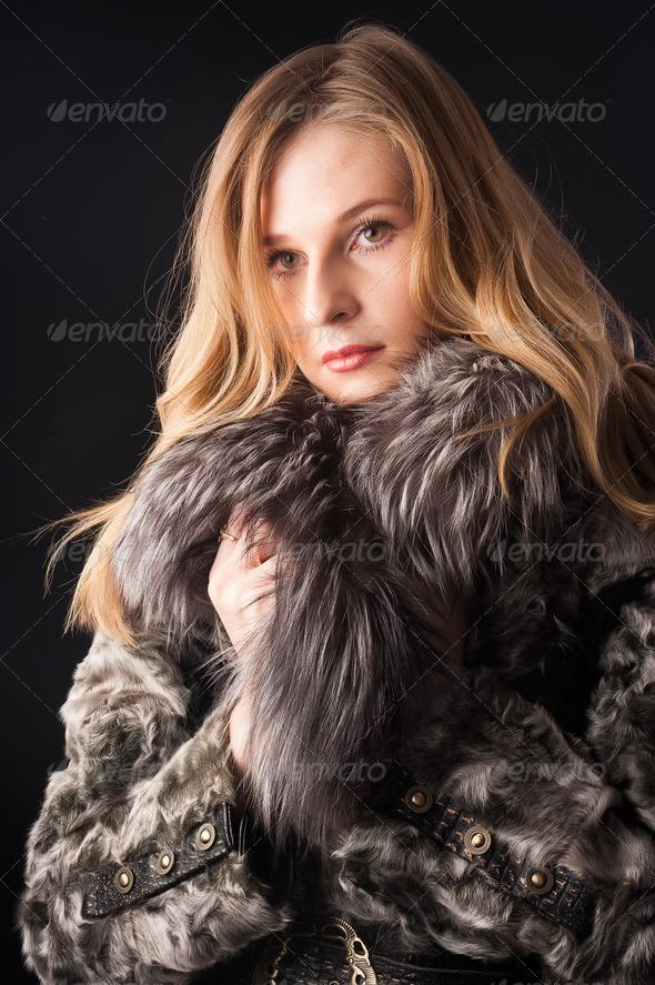 PhotoDune attractive woman in fur coat 3985622