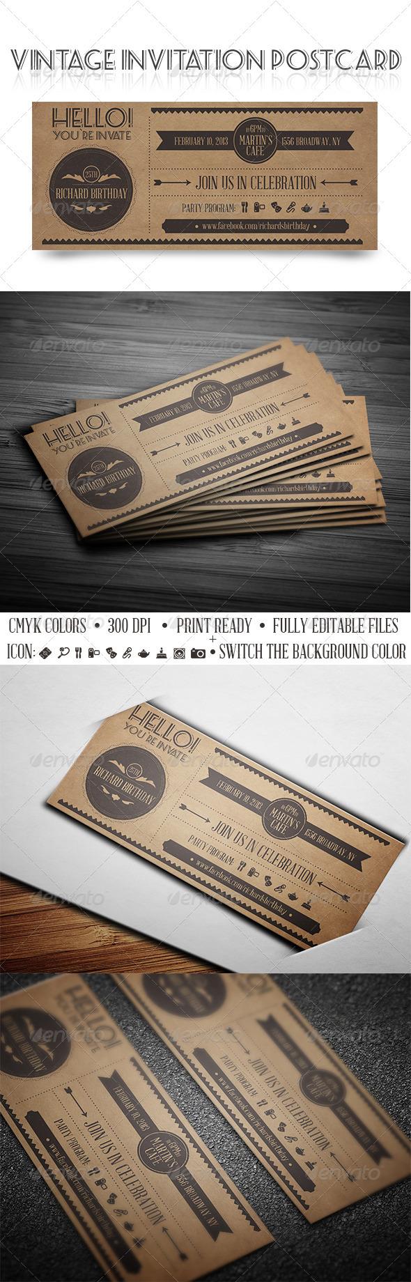 GraphicRiver Vintage Invitation Postcard 3892739
