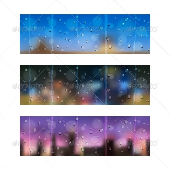 GraphicRiver Drops on Window Glass Seamless Banners 3986214