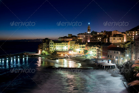 PhotoDune Overview of Bogliasco illuminated 3986443