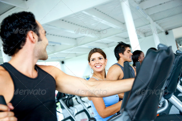 Group at a gym - cardio - Stock Photo - Images