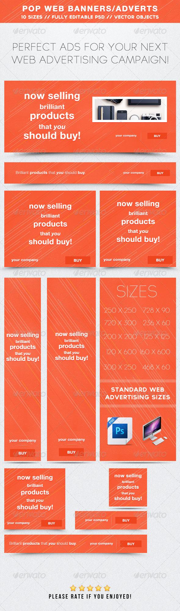 POP Web Banners/Advertisements - Banners & Ads Web Elements