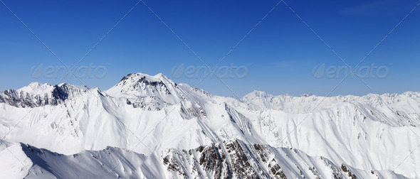 Panorama of winter mountains - Stock Photo - Images