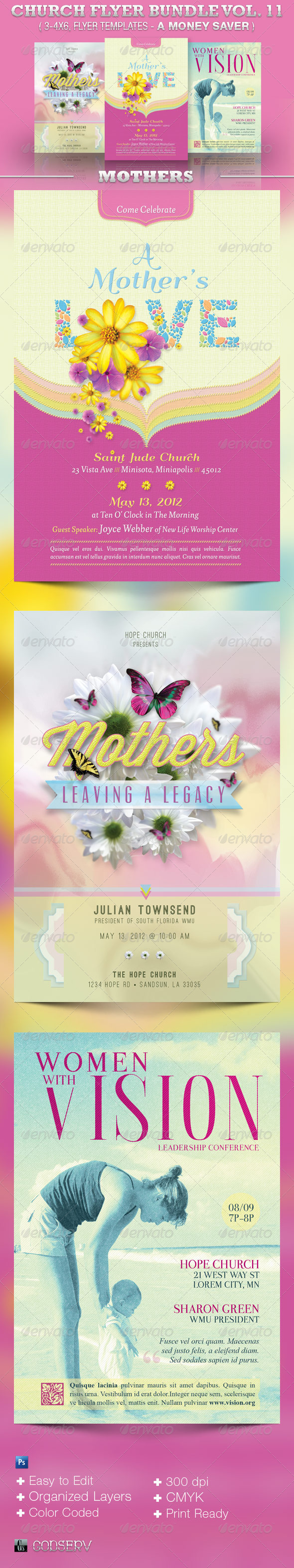 Church Flyer Template Bundle Volume 11 - Mothers - Church Flyers