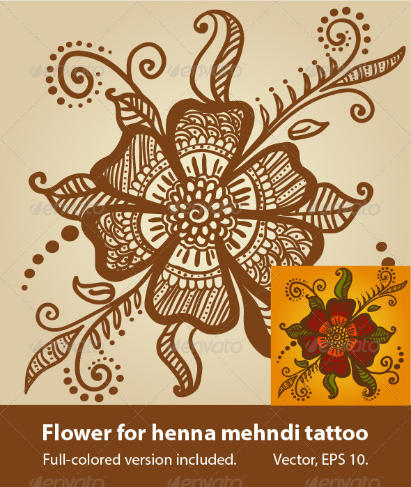 Flower for Henna Mehndi Tattoo  - Tattoos Vectors