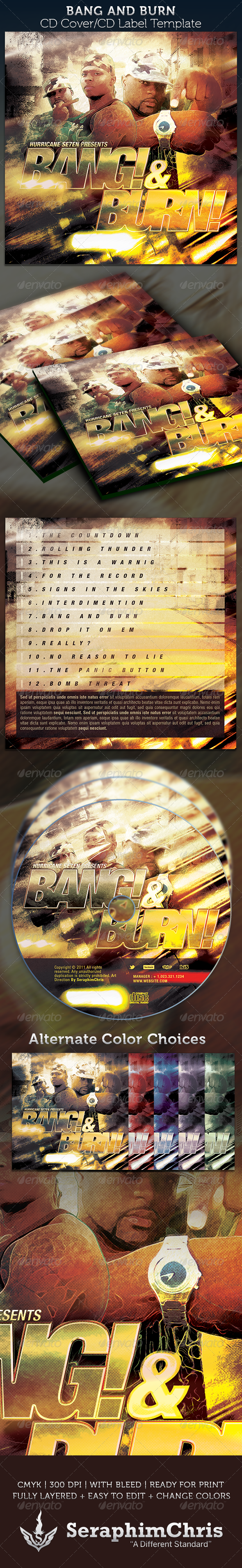 Bang & Burn CD Cover Artwork Template - CD & DVD artwork Print Templates