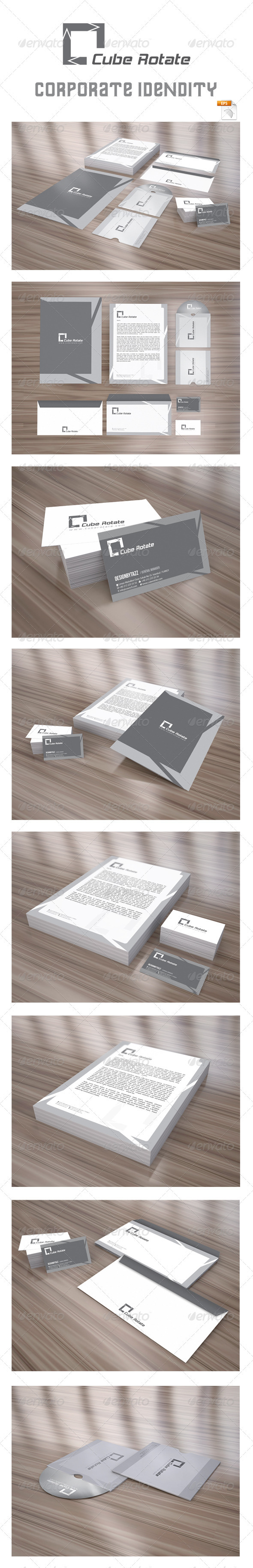 Cube Rotate Corporate Identity Package - Stationery Print Templates