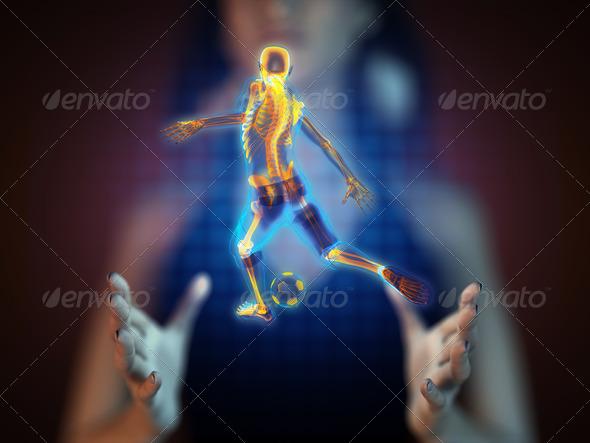 PhotoDune soccer game player on hologram 3988314