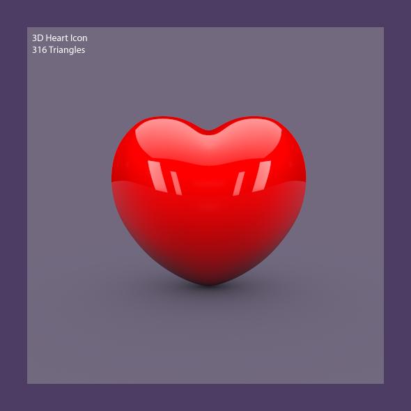3DOcean 3D Heart Icon 3988832
