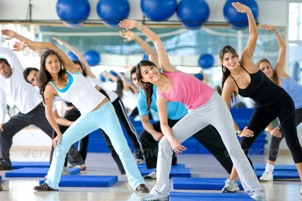 aerobics class in a gym - Stock Photo - Images
