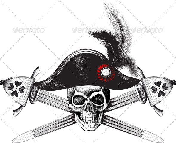 Pirate symbol of a skull in the captain's hat - Tattoos Vectors