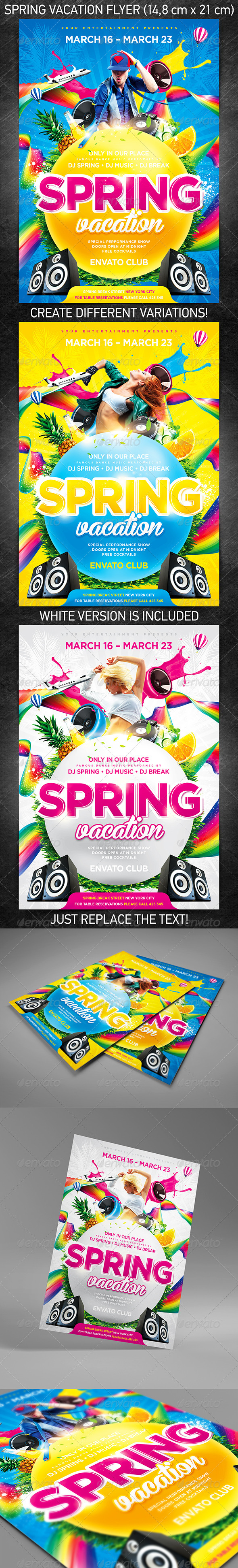 GraphicRiver Spring Vacation Party Flyer 3989742
