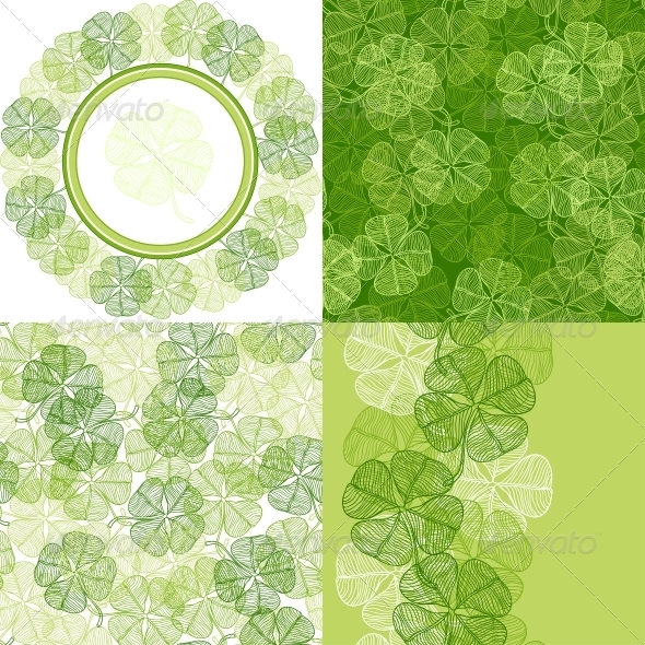 GraphicRiver Patterns and backgrounds with clover leaves 3989815