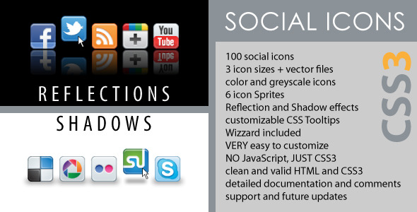 Social Icons - CSS3 Reflections & Shadows - CodeCanyon Item for Sale