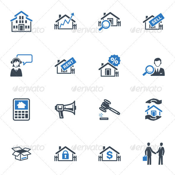 Real Estate Icons - Blue Series - Buildings Objects
