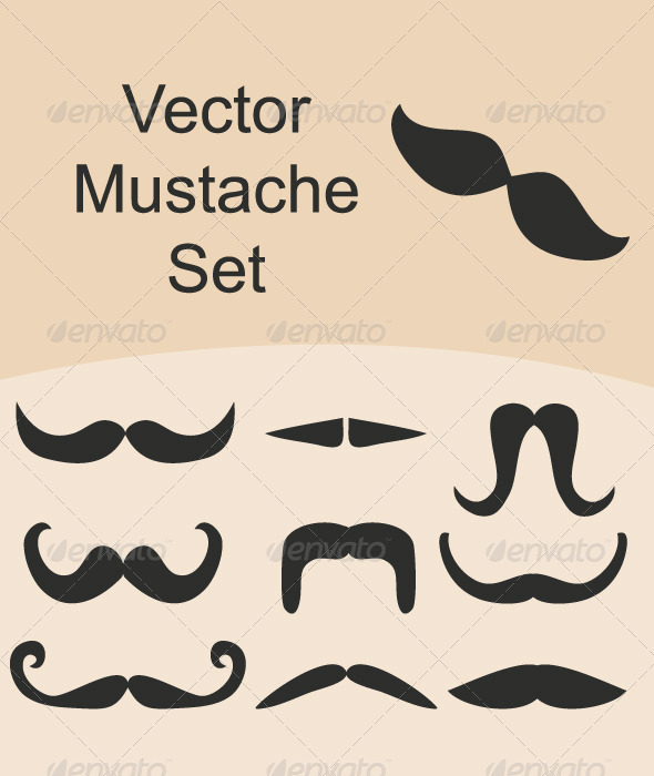 GraphicRiver Mustache Vector Set 3929764