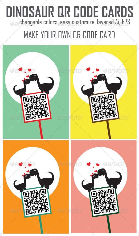 GraphicRiver Dinosaur QR Code Cards 3935616