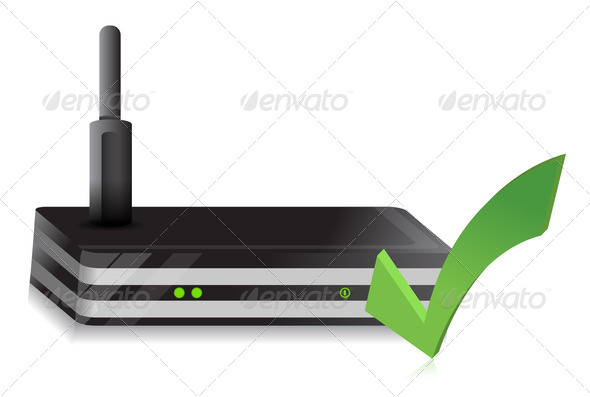 PhotoDune Wireless Router check mark 3992189