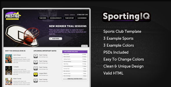 Sporting IQ - HTML Sports Template - Entertainment Site Templates