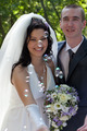 Happy newlyweds at a wedding