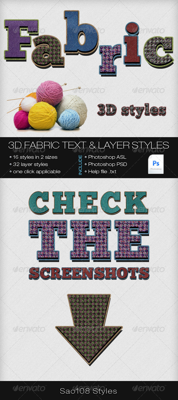 GraphicRiver 3D Fabric Text and Layer Styles 3992951