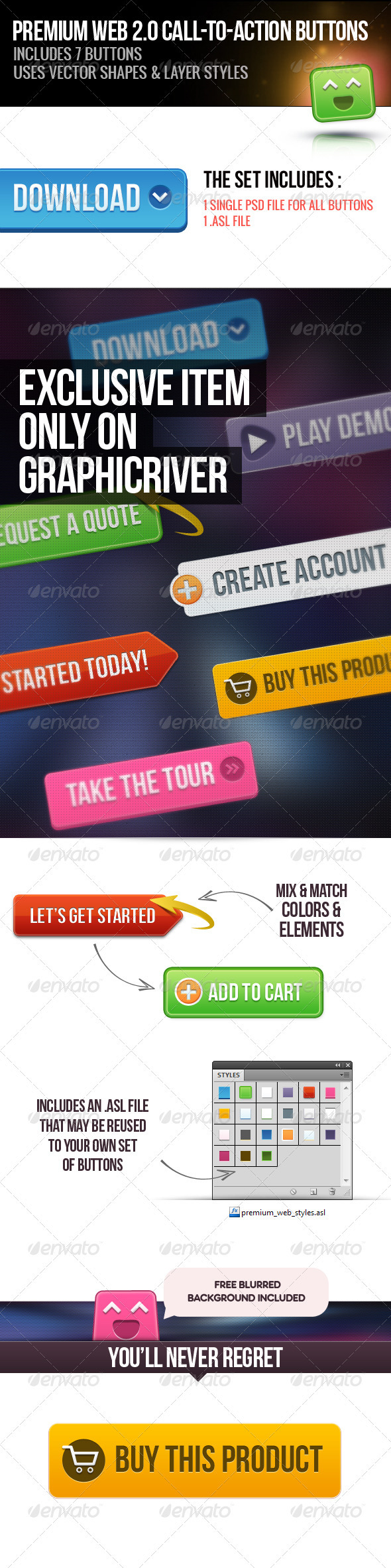 GraphicRiver Premium Web 2.0 Call to Action Buttons 3992975