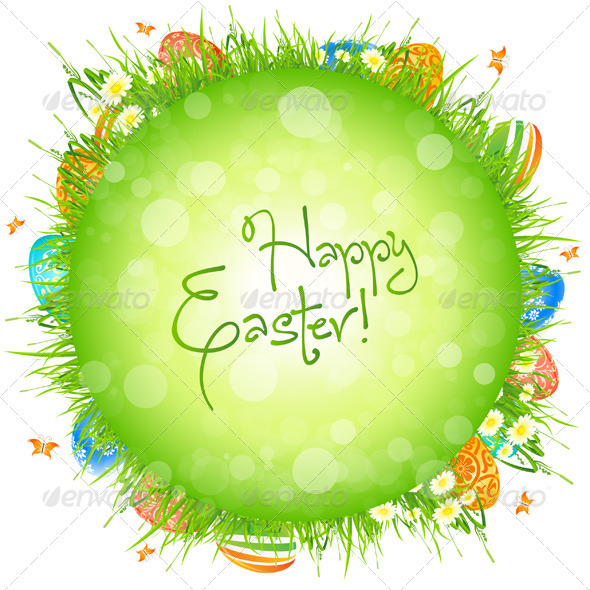 GraphicRiver Easter Eggs in the Grass 3993021