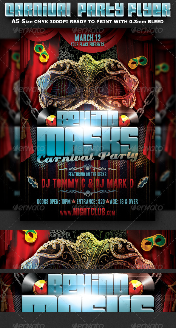 Behind Masks Carnival Party Flyer Template - Clubs & Parties Events