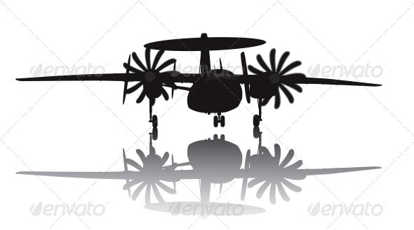 GraphicRiver Awacs Aircraft Silhouette 3993463