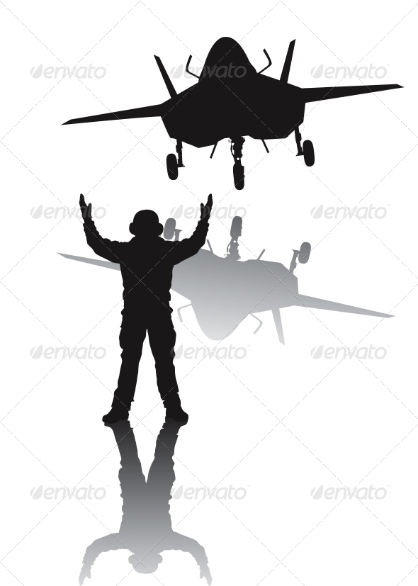 GraphicRiver Stealth Aircraft Silhouette 3993464