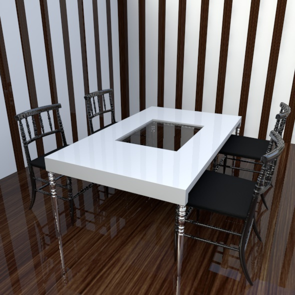 Realistic Chair & Table - 3DOcean Item for Sale