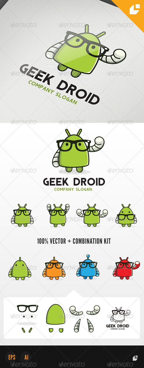 GraphicRiver Geek Droid Logo 3993578