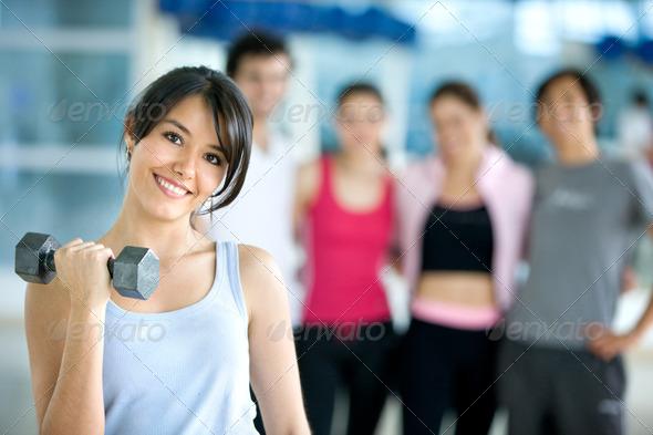 PhotoDune woman lifting free weights 431567