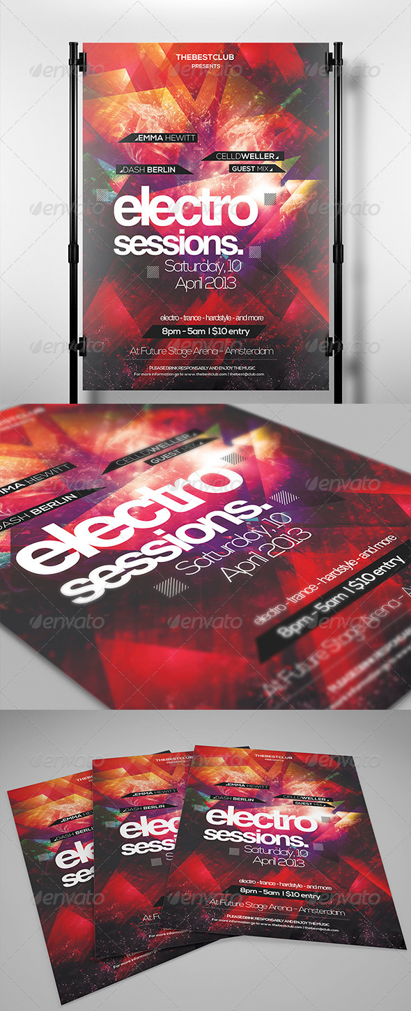 GraphicRiver Electro Sessions Flyer Template 3993808