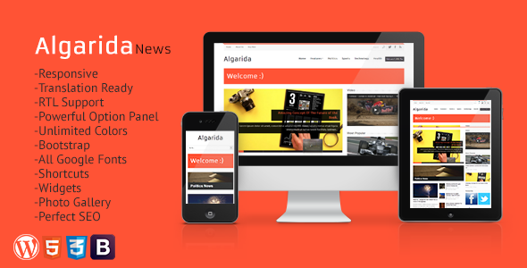 ThemeForest Algarida Responsive Wordpress News And Magazine 3973248