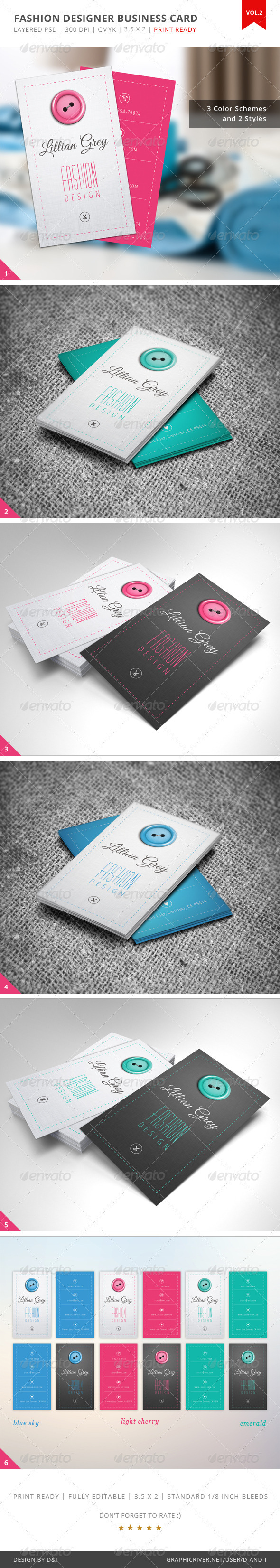GraphicRiver Fashion Designer Business Card Vol.2 3994647