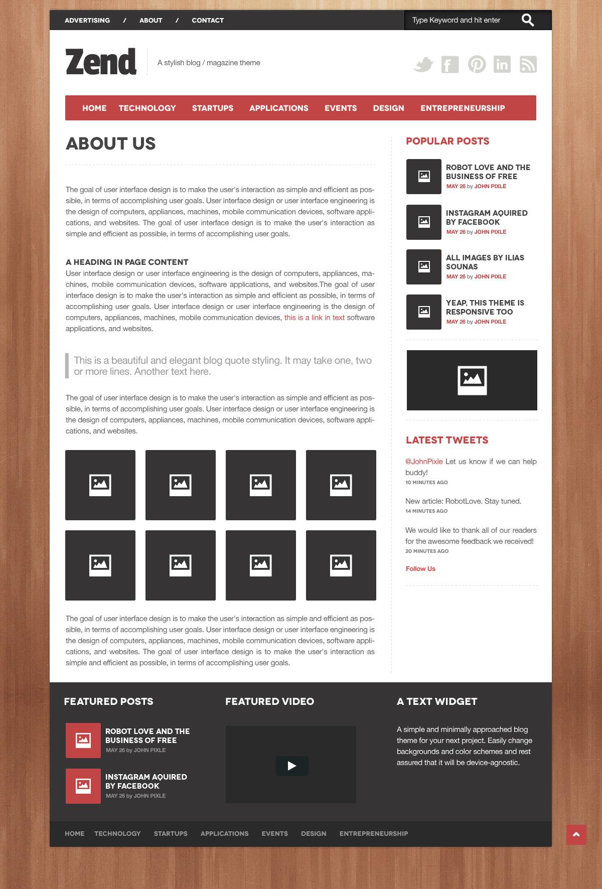 Zend - Responsive Blog/Magazine HTML template