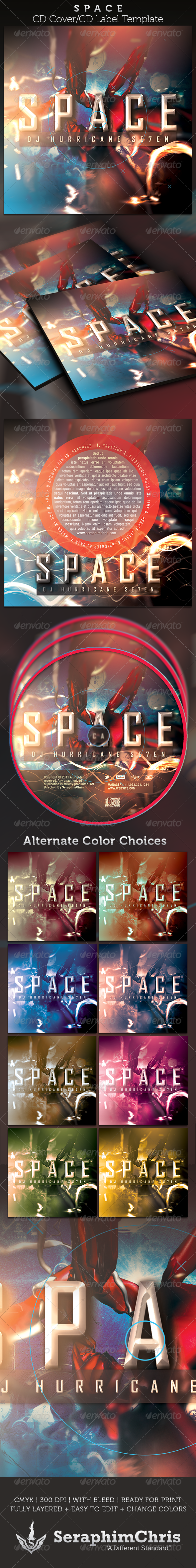 Space CD Cover Artwork Template - CD & DVD artwork Print Templates