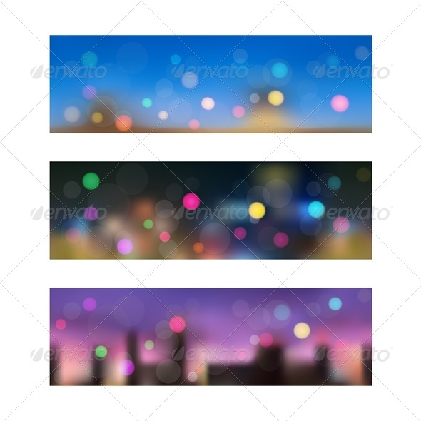 GraphicRiver Night in City Seamless Banners 3995527