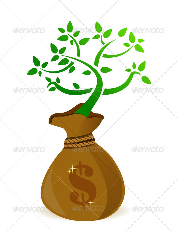 PhotoDune Money bag with fresh green plant growing 3997435