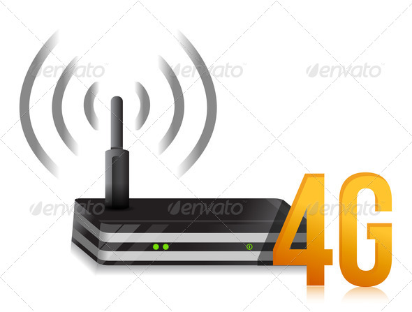PhotoDune 4G symbol with internet router 3997442
