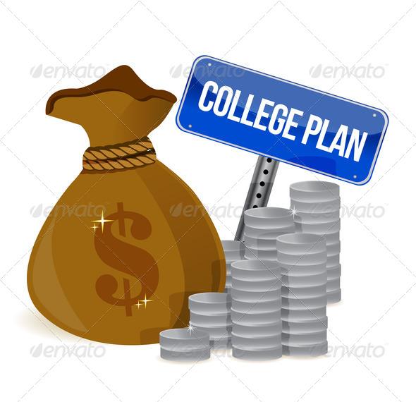 PhotoDune money bags college plan sign 3997439
