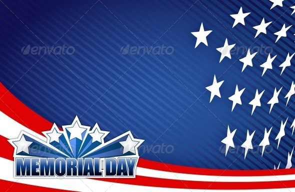 PhotoDune Memorial day red white and blue illustration 3997443
