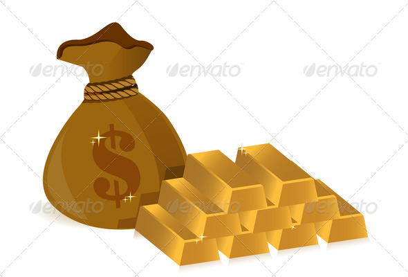 PhotoDune money bags and gold bars 3997426
