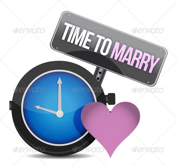 PhotoDune White clock with words Time to Marry 3997427