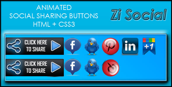 Zi Social Share - HTML + CS33 - CodeCanyon Item for Sale