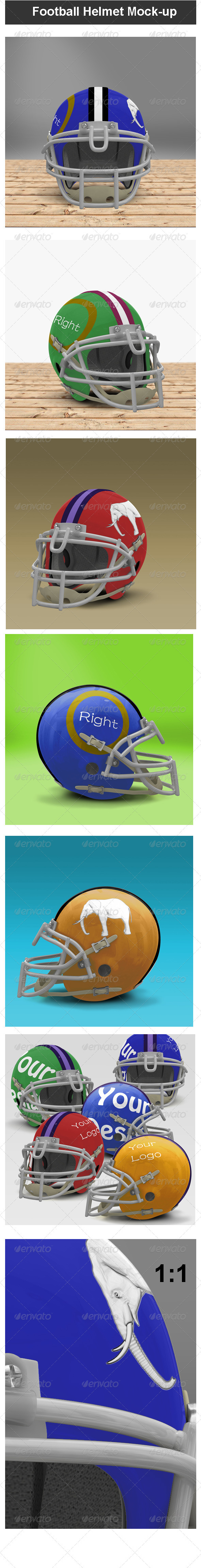 GraphicRiver Football Helmet Mock-up 3996420