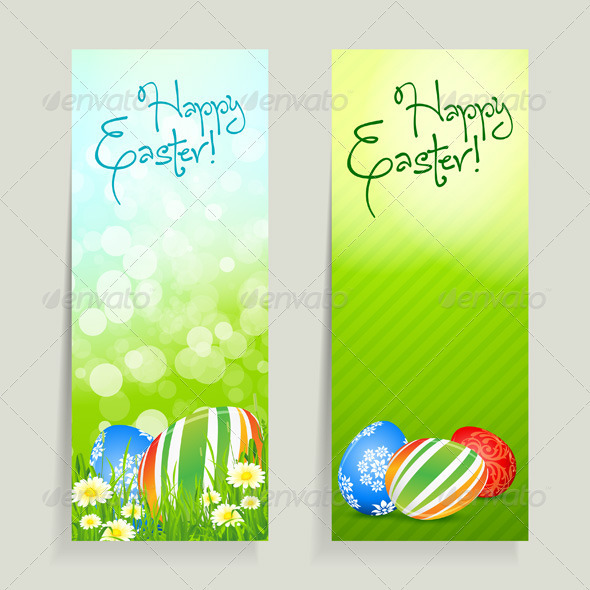 GraphicRiver Set of Easter Cards with Eggs 3996841