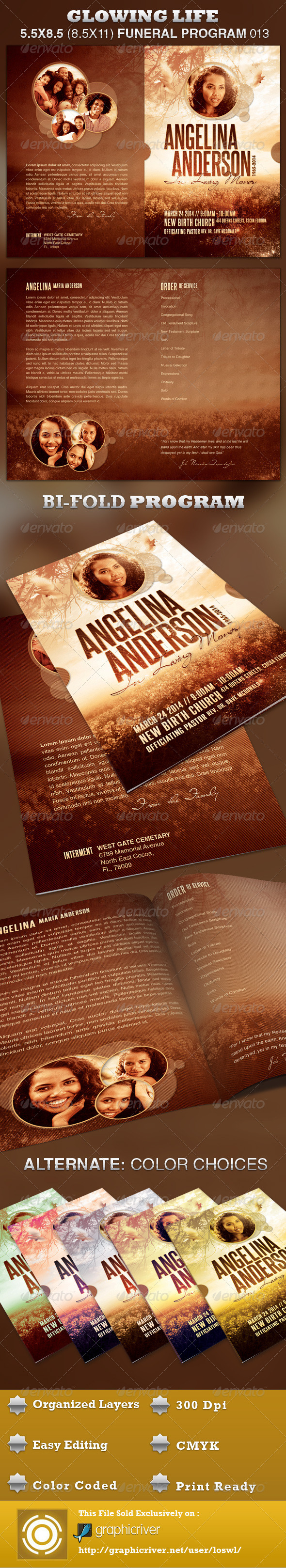GraphicRiver Glowing Life Funeral Program Template 013 3996908