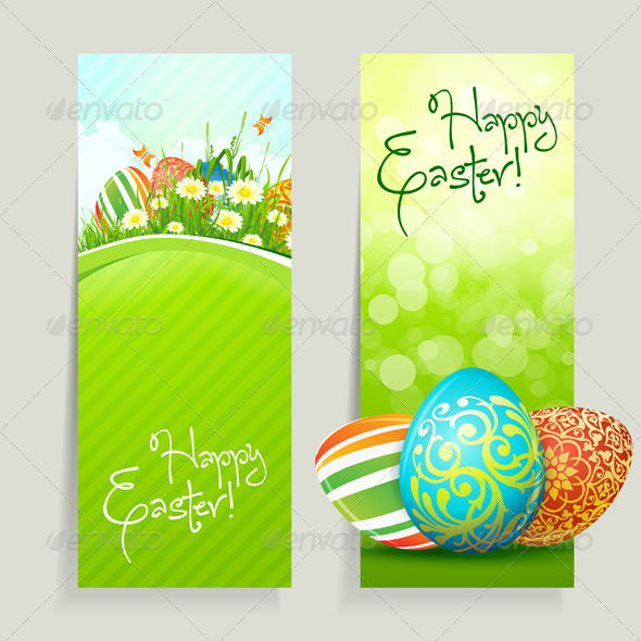 GraphicRiver Set of Easter Cards with Eggs 3996923